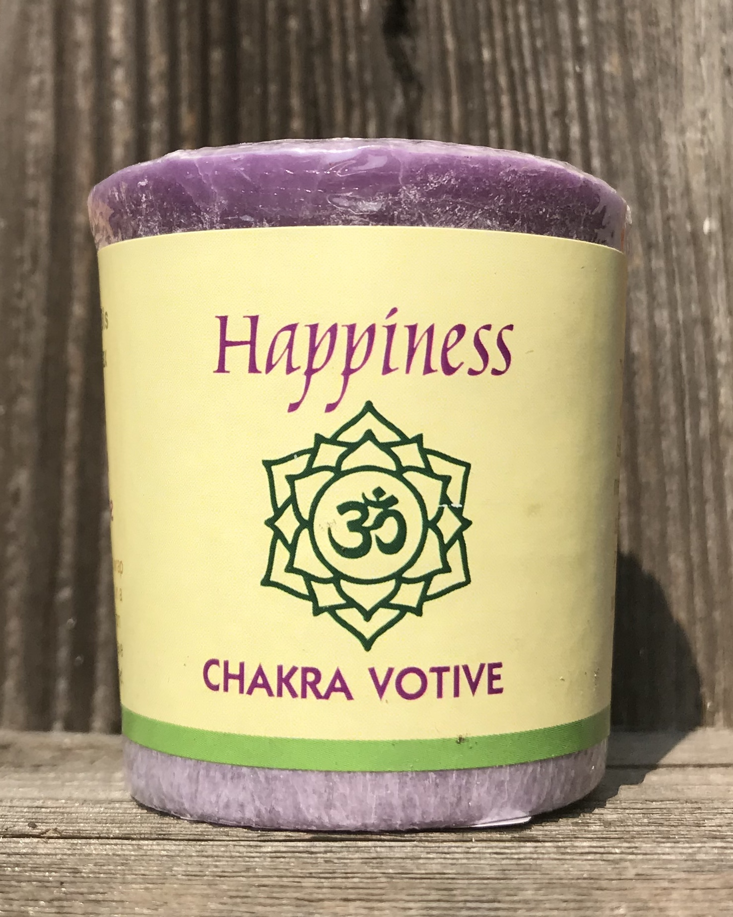 Crown Chakra Happiness Sahasrara 100% Essential Oil Votive Candle | Shasta Rainbow Angels