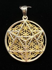 Merkaba with Flower of Life Pendant Sterling Silver 14k Gold Plated | Shasta Rainbow Angels