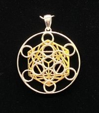 Metatron's Cube Pendant Sterling Silver 14k Gold Plated | Shasta Rainbow Angels
