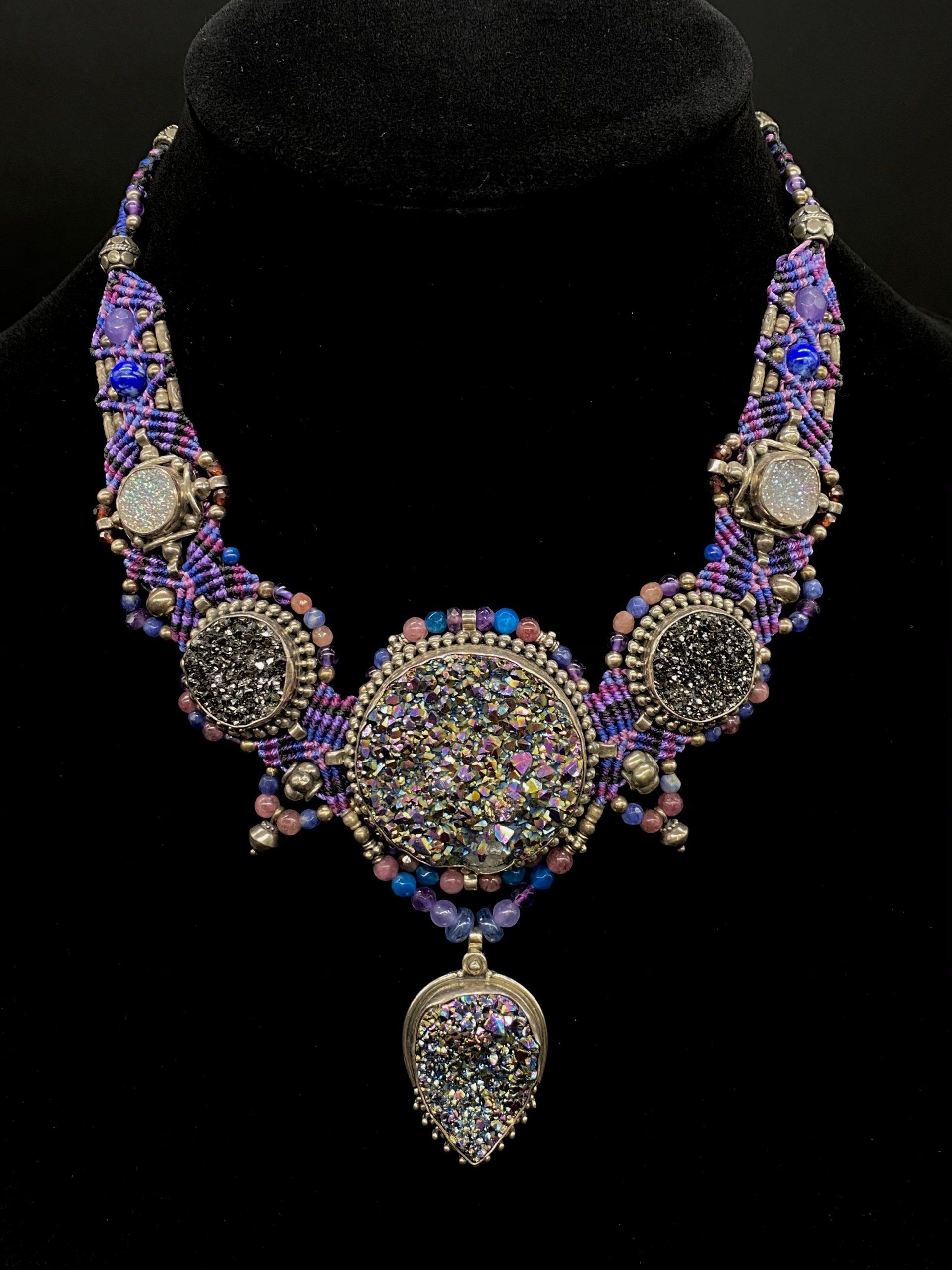 Purple Druzy Isha Elafi Sterling Silver Necklace | Shasta Rainbow Angels