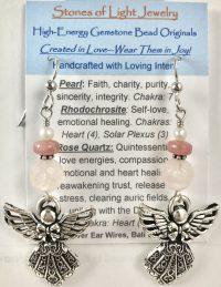 Rose Quartz Sterling Silver Ear Wire Earrings | Shasta Rainbow Angels