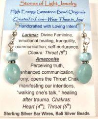 Larimar & Amazonite Sterling Silver Ear Wire Earrings | Shasta Rainbow Angels