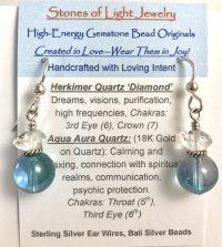 Herkimer & Aqua Aura Sterling Silver Ear Wire Earrings | Shasta Rainbow Angels